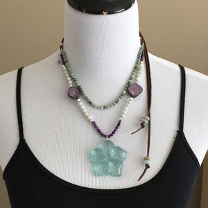 Sea Glass Flower, Gemstone on Leather Necklace